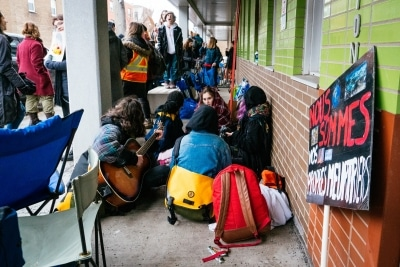 Striking students at Robert Gravel School