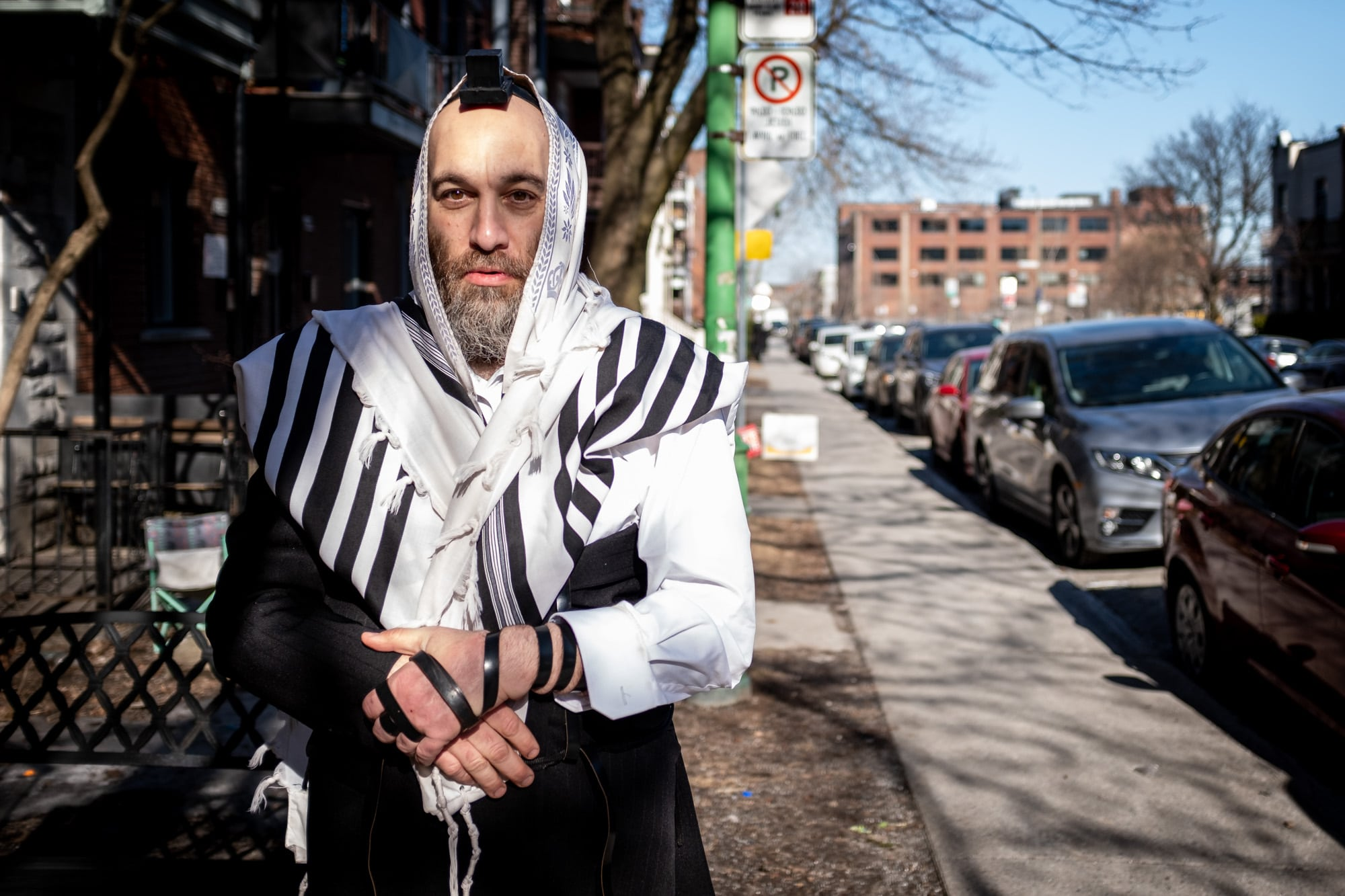 Hasidim Jews pray in the streets for Passover