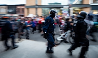 Riot police at the G7 in Quebec city