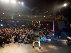 Valérie Plante on her arrival on stage at the Corona Theater.