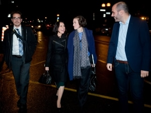 Valérie Plante with members of her team on arrival at Corona Theater