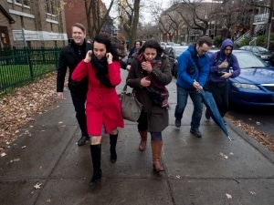 Valérie Plante and members of her team go to see activists