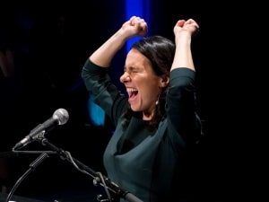 Valérie Plante during her victory speech at Corona Theater