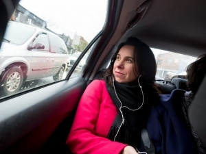 Valérie Plante on the road between two polling stations.